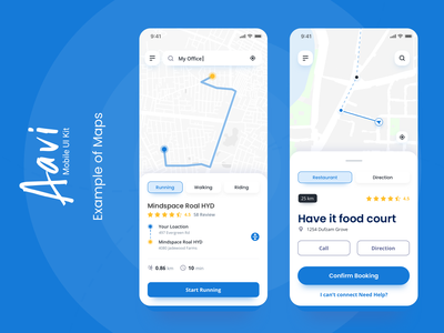 Maps Example from Aavi Mobile App UI Kit cool maps map ux ios modern ui mobile design clean app