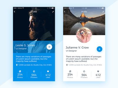 Profile Screen UI Design modern clean profile mobile ios cards app