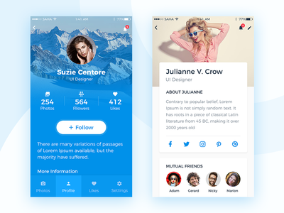 Profile Screen UI Design blue app social ios mobile party profile blue