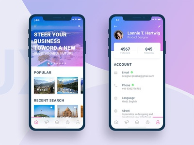 Tourist Guide and Profile iPhone X Screen card iphone x interface interaction inspiration adobe demo profile clean tourist apple