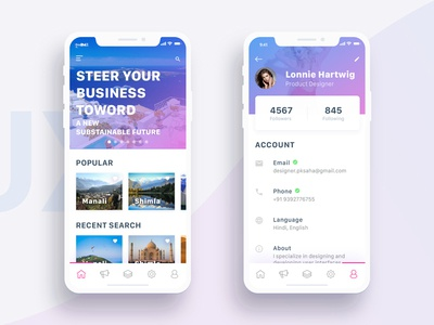 Rebound Tourist Guide and Profile iPhone X Screen tourist profile iphone x interface interaction inspiration demo clean card apple adobe