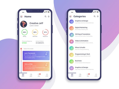 Daily Mobile app Statistic UI iPhone X profile clean stories modern ios illustrations icons gradient dashboard cards