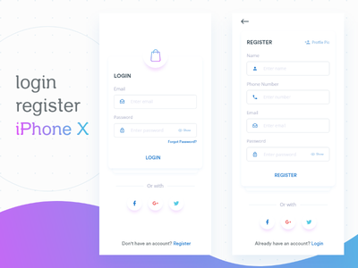 Login And Register Screen user interface ui register login white iphone x ios clean shopping