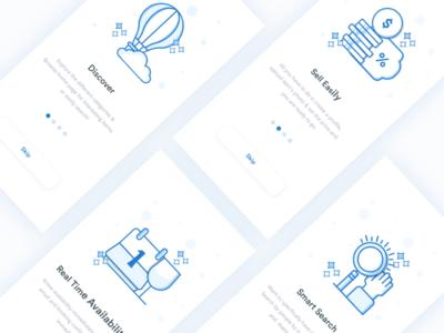 Walkthrough    Screens For Sopping mobile app design concept card ux ui clean blue walkthrough iphonex app shopping