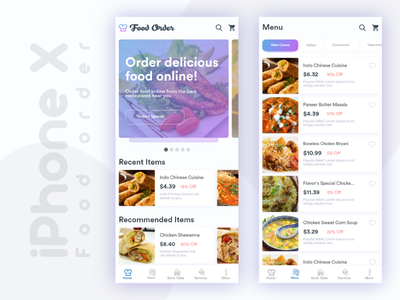 Food order dashboard and menu screen with tabs design ui clean cool delivery restaurant iphone item menu dashboard order food