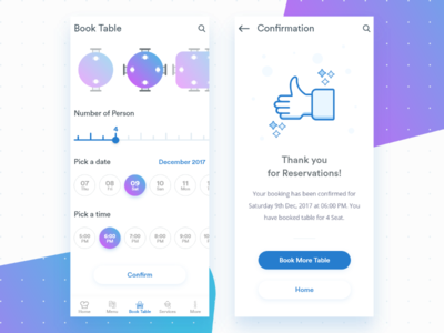 Book A Table and Confirmation Screen for a app cool clean design book a table confirmation app booking book