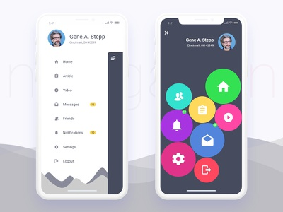 Mobile App Sidemenu Design For Iphonex mockup clean iphonex ux ui design app mobile menu sidemenu navigation
