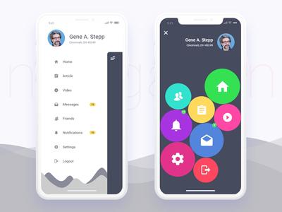 Mobile App Sidemenu Design For Iphonex mockup clean iphonex ux ui design app mobile menu sidemenu navigation