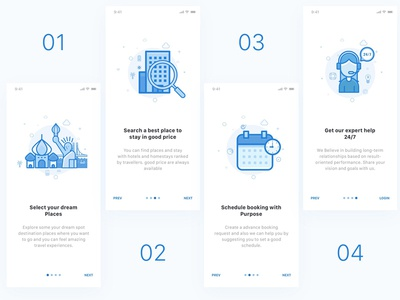 Hotel booking onboarding tutorial booking hotel screen schedule periscope onboarding ios intro illustration broadcast app