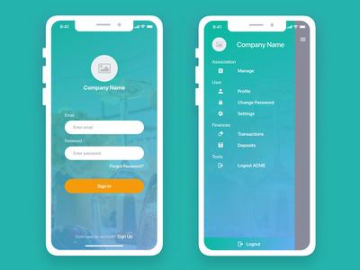 Daily Ui login and sidemenu with grouping iphone signin login saha ios cards card group menu image sidemenu design app