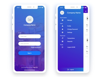 Daily Ui login and sidemenu with grouping app social ios mobile party profile blue