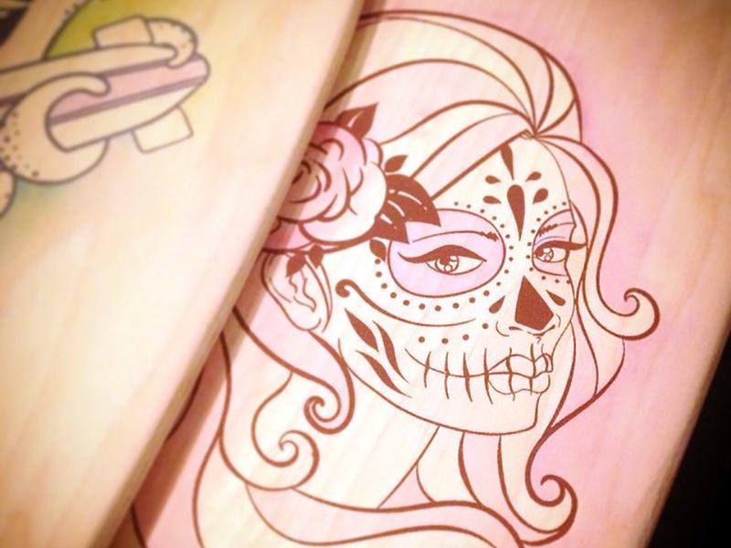 Sugar Skull on Wood sugar skull sexy pinup illustration illustrator screen printing watercolor wood