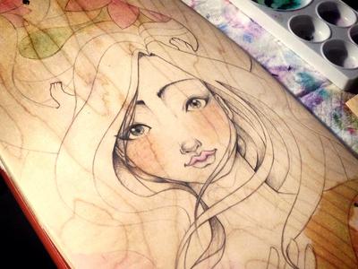 Hand drawn illustration on longboard