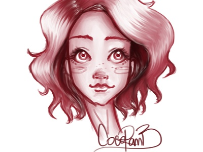 Quick sketch to relax the mind & hand sketch sketching doodle photoshop freehand brush face girl drawing