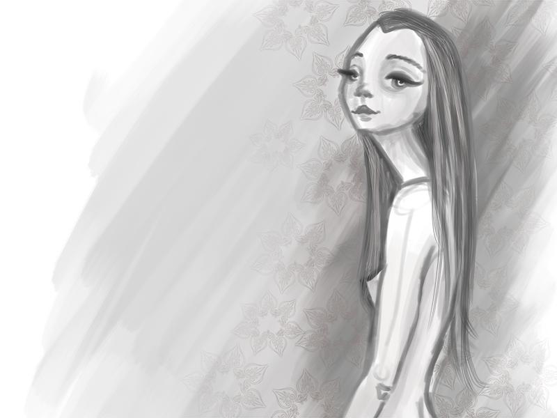 Quick Sketch illustration drawing naked girl gray doodle sketch photoshop