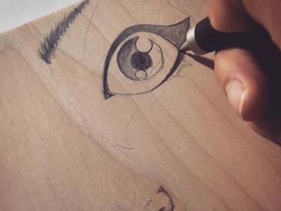 Sketching  on Wood pencil eye face doodle art wood illustration sketch