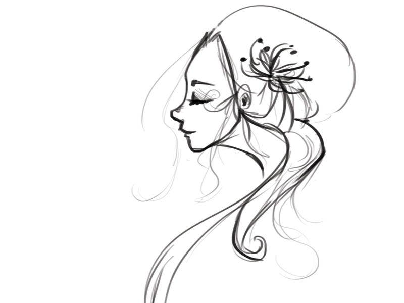 Quickie Sketch profile face freehand photoshop drawing doodle sketch