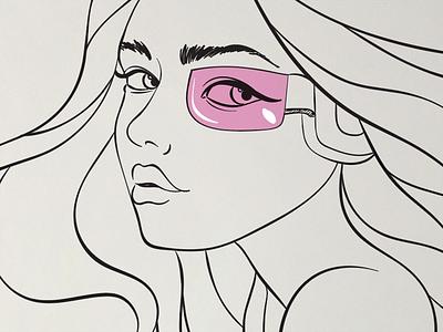 Clean lines clean doodle sketch illustrator visor dragonball girl face