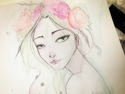 Pencil and Watercolor flowers exercise sketching sketch doodle art illustration drawing face watercolor pencil