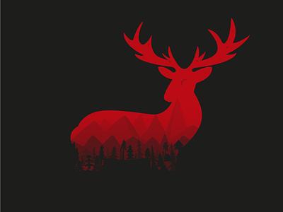 Dear Deer myths mountains red dark illustrator vector illustration trees wood forest deer