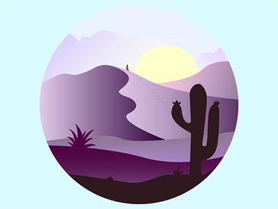 Desert Sunset aloe clouds landscape colors vector light design illustrator illustration sunset sun cactus desert