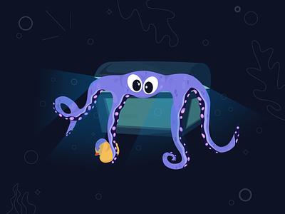Octopus Misanthropus tentacles adobeillustrator ocean treasure chest dowerchest bottom sea duck octopus design colors vector illustrator illustration