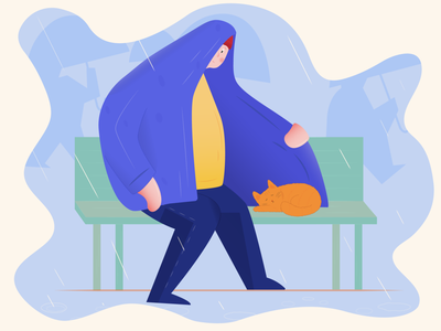 Everyone can give a warm autumn kitty man character rain loneliness warm pet cat adobeillustrator colors vector illustrator illustration