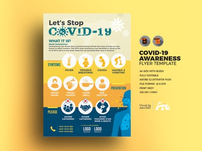 COVID-19 Awareness Flyer Template flyer template prevention symtoms covid-19 awareness awareness flyer corona-virus awareness flyer corona coronavirus covid-19 aam3sixty aam360
