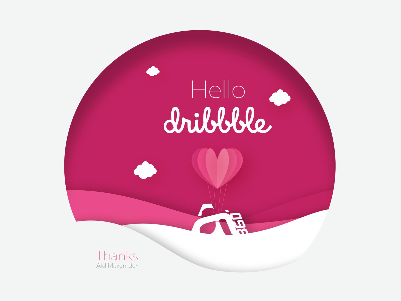 Hello Dribbble! dribbble shot dribbble best shot invitation wave balloon cloud hello aam360 hello dribbble aam360logo vector logo design illustration aam icon aam360