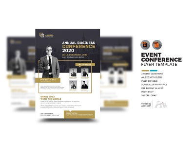 Event   Summit   Conference Flyer Template concept agm speaker illustrator flyer template speech seminar workshop print ad print template conference flyer annual event clean creative summit event conference vector aam360