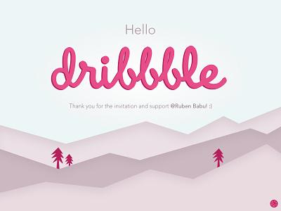 Hello Dribbble! dribbble trees mountains invited illustration vector
