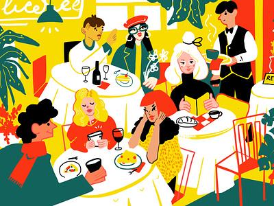 Restaurant scenery people cute flat illustration eating caffe restaurant restaurant scenery digital illustration illustration