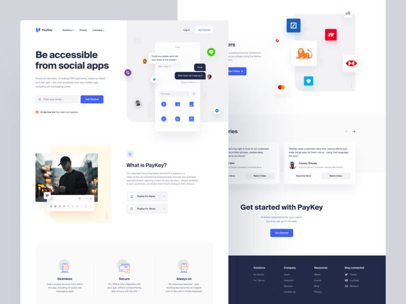 PayKey – Home web site web design user interface transfer top up social payments solution social app product page payment identity fintech financial services finance e-finance design system