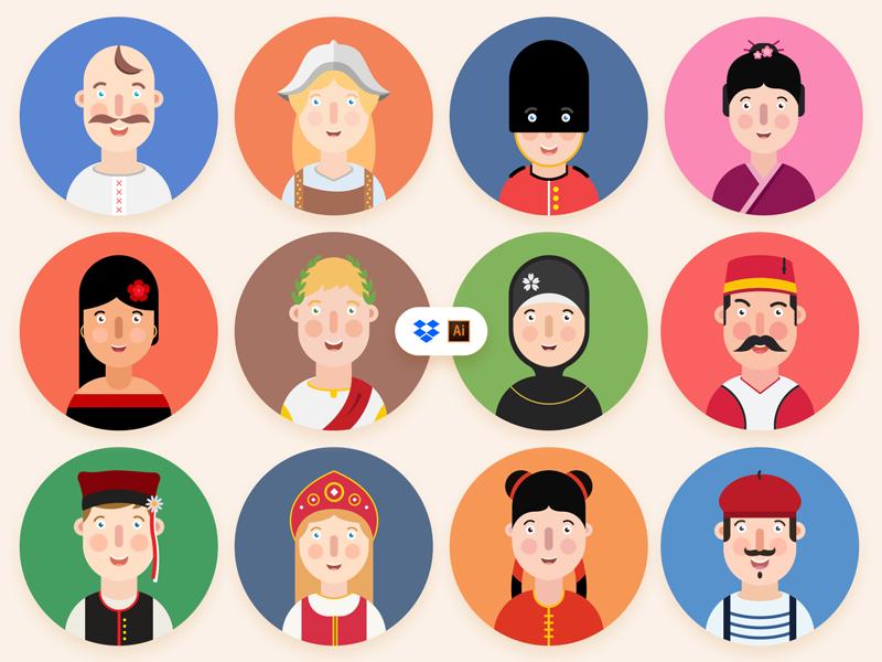 12 Languages | Free Icon Set design ai ux ui vector smile colors languages set icons freebie