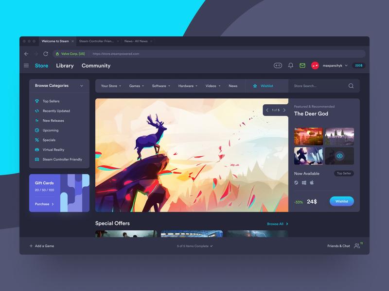 Steam – Game Platform gaming saas atomic design system dashboard platform steam game web concept mac design ux ui