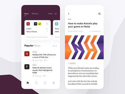 Cybersport News App pubg dota article blog cybersport news game colors mobile concept app ios clean design ux ui