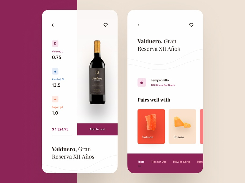 Wine Shop App bottle wine vector layout mobile clean concept app ios design ux ui