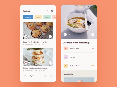Make a healthy lifestyle training diet nutrition sport fitness recipes cooking mobile app ios concept clean design ux ui