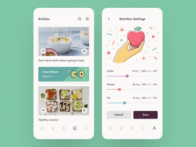 Make a healthy lifestyle #2 feed recipes vector app design articles settings slider diet nutrition fitness training sport layout mobile ux ui