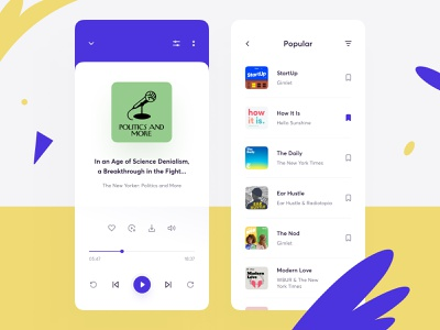 Podcast app design listen bookmarks concept play player settings list popular filter streaming podcast ux ui