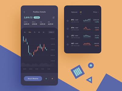 Trading App Concept concept candlestick chart graphic btc bid wallet crypto bitcoin ux ui