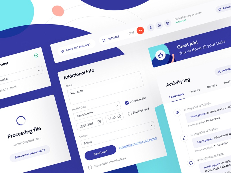 Adversus: Cards and UI elements activity log cards atomic design system inbound dashboard app ux ui dialer web based dialer phone web manage leads product design customer service call-management call center call