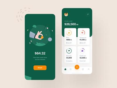 Save Money Effortlessly mobile ios credit cards startup finance app save money balance spending savings mobile design ux ui progress payments payment fintech finance data budget