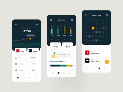 Finance Manager calendar finance app mobile app payment method financial services fintech payment finance e-finance subscription banking overview design system dashboard ux ui