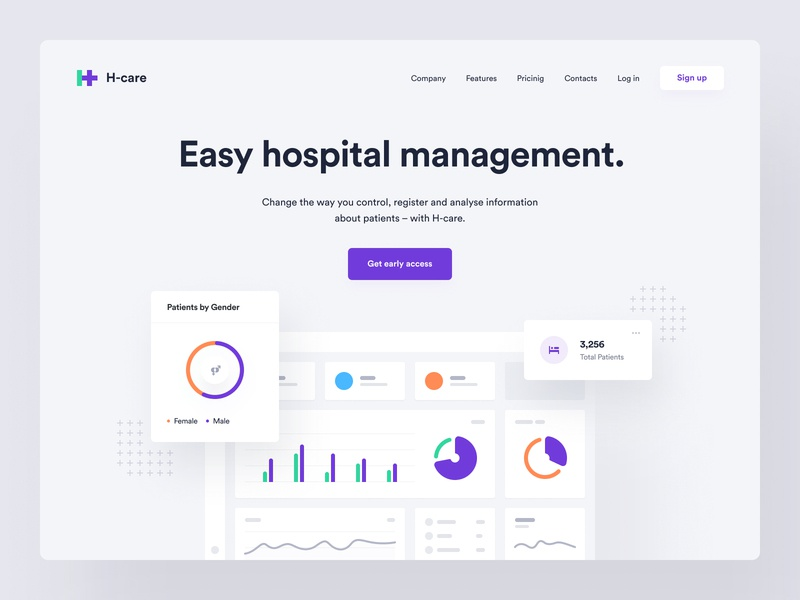 H-care – Landing page clinic hospital saas toglas dashboad medtech startup electronic health healthcare app ux ui web design design system product page landing page dashboard