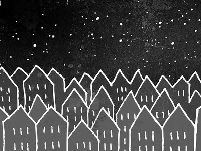 Sleepy Night Town town city night sleep sleepy black dark draw illustration art