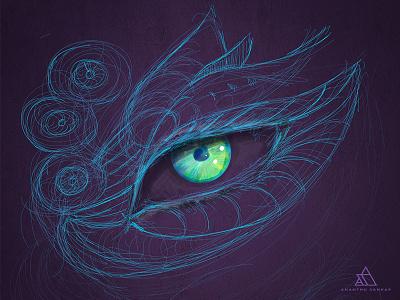 Scribbble digital art scribble eyes