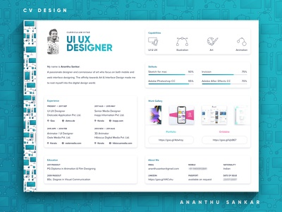 CV Design portfolio minimal layout design resume cv