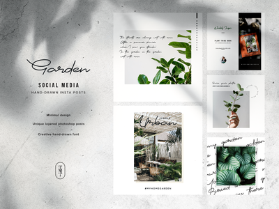 The Garden Instagram Social Media Pack pack garden green minimal insta post social media clean instagram template instagram