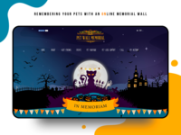 Pet memorial wall (Halloween theme) illustration design halloween cartoon colorful illustration fun desctop web website design color website ui design concept